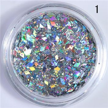 1 Box Rhombus Nail Flakies Mixed Size Colorful Paillette Sequins Flakes Glitter for Manicure Nail Art Decorations