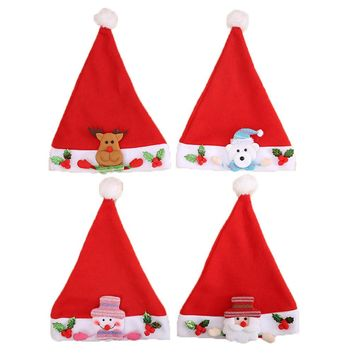 Children Christmas Hat Soft Non Woven Fabric Santa Decoration Kid Baby Hat Christmas Gift Accessories