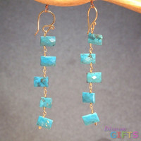 "Cushion cut turquoise linked together, 2"" Earring Gold Or Silver"
