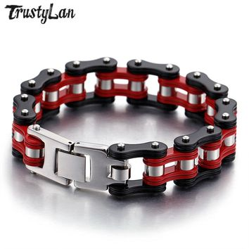 TrustyLan New Punk Rock Bicycle Chain Bracelet Men 16MM Wide Red Stainless Steel Mens Bracelets Bangles 2018 Best Friend Jewelry
