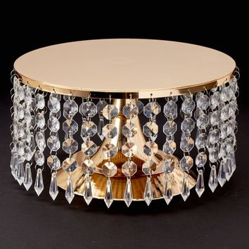 """Gold Metal Cake Stand with Hanging Acrylic Crystals - 5.5"""" Tall x 10"""" Diameter"""