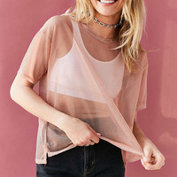 Silence + Noise Metallic Shimmer Mesh Tee - Urban Outfitters