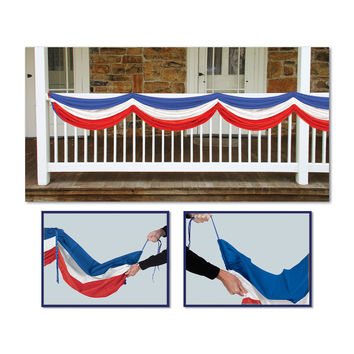 Beistle Party Decoration Accessory Patriotic Fabric Bunting - red, white, blue; 5' 10 Pack of 6