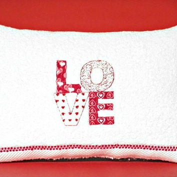 Valentine Accent Pillow Love Hearts Red White Decorative Repurposed