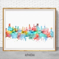 Chicago Art Print, Chicago Skyline, Chicago Illinois, Office Decor, Office Art, Watercolor Skyline, Watercolor City Print, ArtPrintZone