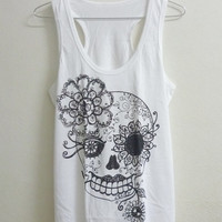 Women tank top size S M L white color Skull women t shirt teen top mustache shirt