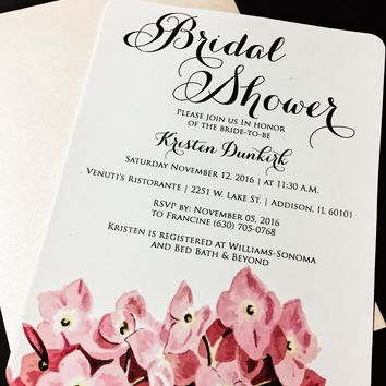 Floral Bridal Shower Invitations - Bridal Shower Invites - KRISTEN VERSION Set of 25