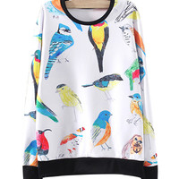 White Bird Print Sweatshirt