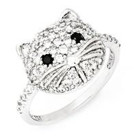 Cheryl M Sterling Silver White & Black CZ Cat Ring