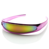 1980's Retro Super Futuristic Cyclops Novelty Chrome Shield Sunglasses 9153