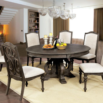"""Furniture of america CM3150RT 7 pc arcadia rustic natural tone finish wood 60"""" round dining table set"""