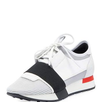 Balenciaga Mesh & Leather Sneaker, White/Black/Gray