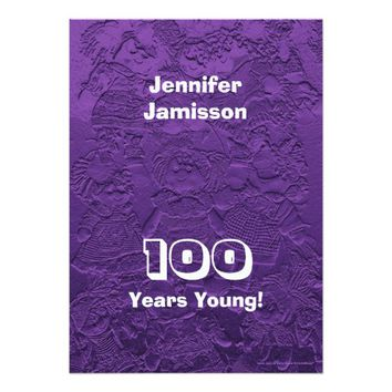 100 Years Young Birthday Purple Dolls Invitations