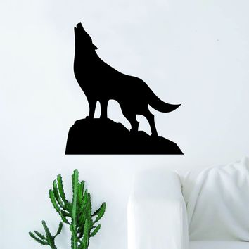 Wolf Silhouette Quote Wall Decal Sticker Bedroom Living Room Art Vinyl Nursery Son Daughter Teen Animal