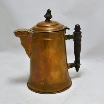 Copper Coffee Pot - Hinged Lid - Brass Cover on Spout - Copper Brass Wood - Rome  - French Country Antique