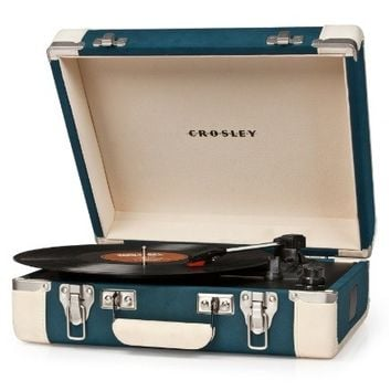 Crosley Executive Portable USB Turntable CR6019A-TL - Plays Records and Converts Records to Digital - Teal & White