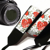 Flowers Camera Strap. Roses Camera Strap. Dslr Camera Strap. Red Camera Strap