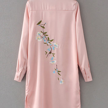 Pink Front Button Embroidered Back Dress
