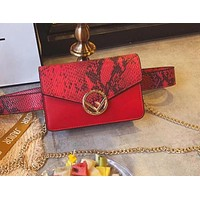 FENDI Popular Women Personality Snake Skin Texture Leather Waist Bag Pockets Bag Red I-WXZ2H