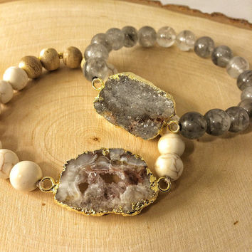 Friendship bracelet set drusy stone on stretch cord agate beads