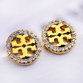 Tory Burch Fashion New Diamond Round Hollow Earring Accessories Women Gold