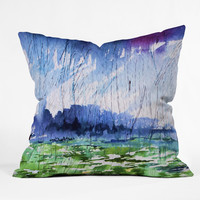 Ginette Fine Art Blue Rain Falling Outdoor Throw Pillow