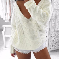 White Knitted Sweater Hollow out Pullover Sweater