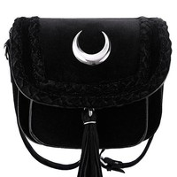 Restyle Velvet Moon Mini Bag Gothic Witch Crescent Moon Crossbody Purse