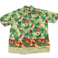 Vintage 90s Pierre Cardin Tropical Fruits Rayon Hawaiian Shirt Mens Size Large