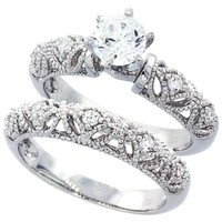 Sterling Silver Rhodium Plated, Round CZ Vintage 2 pcs Engagement Ring Bridal Sets ( Size 5 to 9), 5
