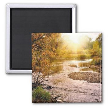 "Autumn River 2"" Square Magnet"
