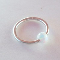 Captive White Fire Opal Bead Septum,Upper Ear Daith Rook,Tragus,Cartilage Hoop Earring,Nose Ring,Eyebrow Piercing,925 Sterling Silver 18G-8mm
