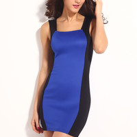 Royal Blue Hollow-out Back Mini Dress with Color Block  Accent