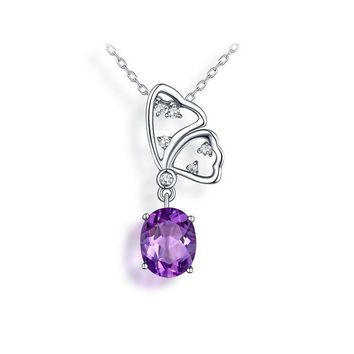 Butterfly Jewelry in Sterling Silver with Amethyst or Pink Quartz in White or Rose Gold Plated