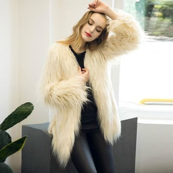 Women Coat Fur New Ladies Womens Warm Furry Faux Fur Fox Coat Jacket loog Sleeve Winter Parka Casual Outerwear Fourrure#21