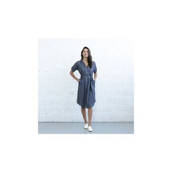 NAFTUL Embroidered Button Down Dress - Gray