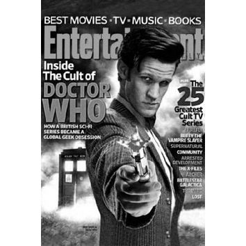 Dr Who Entertainment Weekly Cover poster Metal Sign Wall Art 8in x 12in Black and White