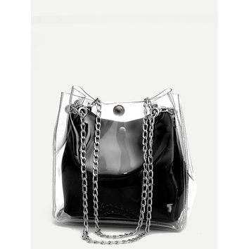 Clear Chain Tote Bag With Inner Pouch Black