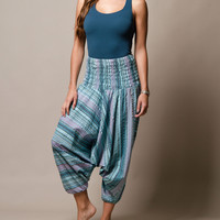 Blue Topaz Indian Striped Harem Yoga Pants