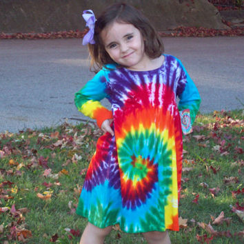 Girls Tie Dye Dress 2T 4 6 8 10 12, Long Sleeve Dress,  Rainbow Spiral