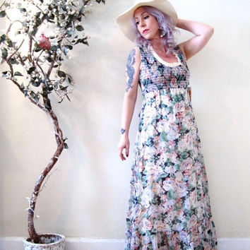 30% OFF SALE vintage 70s romantic floral maxi dress / muted rose print / deadstock hippie boho prom