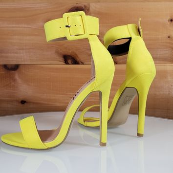 "Stellar Yellow Wide Big Buckle Ankle Strap - 4.5"" High Heel Shoe"