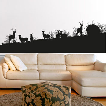 Vinyl Wall Decal Sticker Deer Herd Silhouette #5043