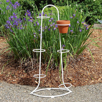 Vintage Art Deco Iron Plant Stand with Rings for 6 Pots, Heavy Metal Planter, Wrought Iron Garden Decor Porch Patio Furniture
