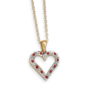 Sterling Silver & Gold-plated Diamond & Ruby 18in Heart Necklace