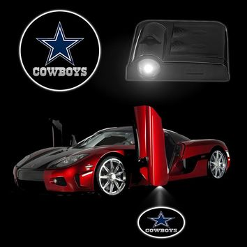 2Pieces/Set Battery Car LED Lamps DALLAS COWBOYS Wireless Car Door Projector Light LED Lighting Interior Accessories Car Styling