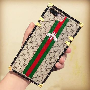Gucci Embroider iphone 7iphone 6s 7iphone 7plus full bag frosted lovers case hard shell-2