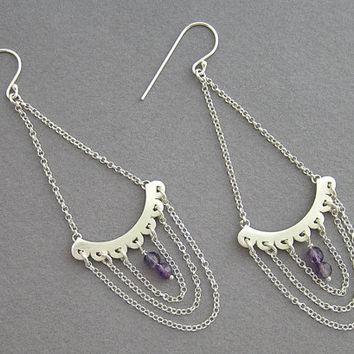 Chandelier Earrings - Draped Chain - Sterling Silver Statement Earrings with Amethyst