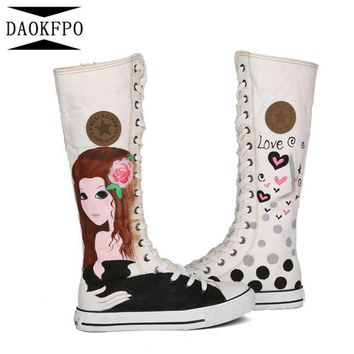 DAOKFPO 2017 New Fashion 4Colors Women's Canvas Boots Lace-up Knee High Boots Women Boots Flats Casual Tall Punk Shoes Girls