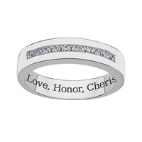 Sweet Sentiments Sterling Silver Cubic Zirconia Wedding Ring (White)